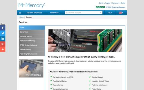 Screenshot of Services Page mrmemory.co.uk - Mr Memory® provides a range of FREE Services with all orders - captured Sept. 18, 2016