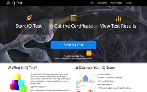 Screenshot of Home Page iq-testing-online.com - IQ Test - Your Source For Online Testing Quiz - captured Sept. 19, 2014