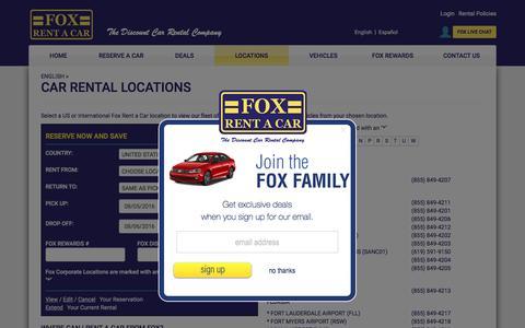 Screenshot of Locations Page foxrentacar.com - Fox Rental Car Locations - US and International - captured Aug. 4, 2016