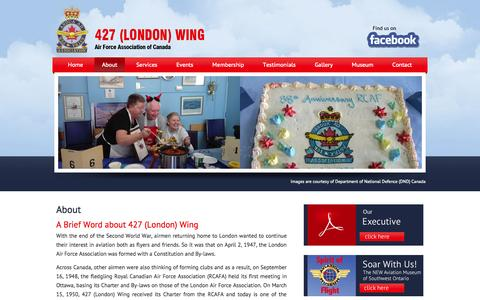Screenshot of About Page 427wing.com - About - 427 (London) Wing - Air Force Association of Canada - captured Oct. 27, 2014