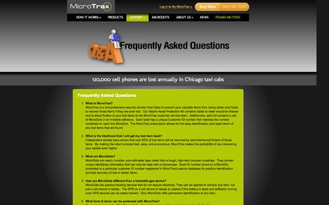 Screenshot of FAQ Page micro-trax.com - Lost Item FAQ - Assets recovery - laptop recovery | Micro-Trax - captured Oct. 27, 2014
