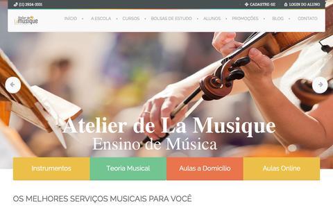 Screenshot of Home Page atelierdelamusique.com.br - Atelier de La Musique - Escola de Música em São Paulo - captured June 17, 2015
