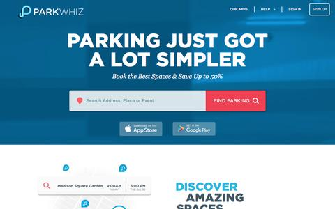 Screenshot of Home Page parkwhiz.com - ParkWhiz: Guaranteed Parking | Find and Book Parking Anywhere - captured Nov. 19, 2017
