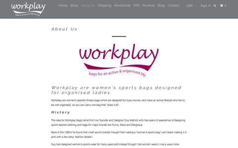 Screenshot of About Page workplay-bags.com - Best Women's Gym, Travel & Running Bags - Workplay Bags - captured Nov. 30, 2016