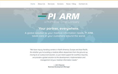 Screenshot of Home Page pi-arm.com - PI ARM | A ProPharma Group Company - captured Sept. 26, 2014