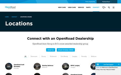 Screenshot of Contact Page Locations Page openroadautogroup.com - Locations | OpenRoad Auto Group - captured Nov. 7, 2018