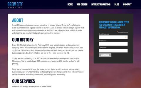 Screenshot of About Page brewcitymarketing.com - About - Brew City Marketing - captured Sept. 30, 2014