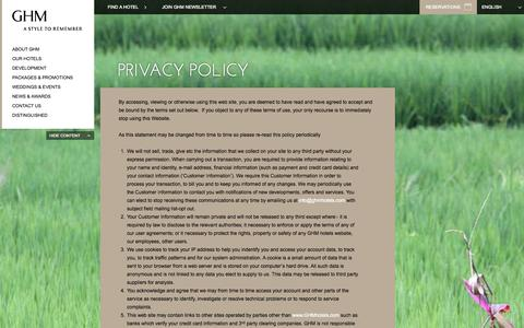 Screenshot of Privacy Page ghmhotels.com - Privacy Policy |GHM Luxury Hotels | 5 Star Hotel Resorts - captured Sept. 23, 2014