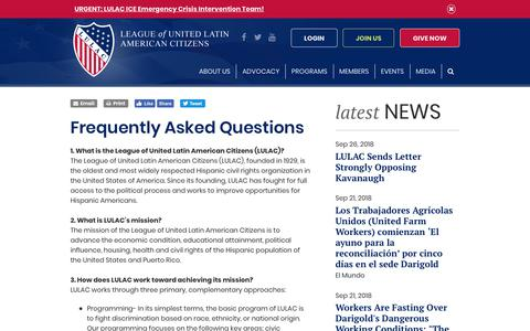 Screenshot of FAQ Page lulac.org - Frequently Asked Questions - captured Sept. 27, 2018