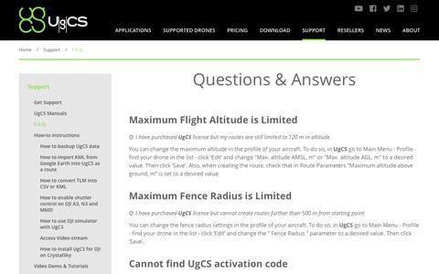 Screenshot of FAQ Page ugcs.com - F.A.Q. - captured Oct. 1, 2018