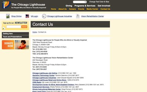 Screenshot of Contact Page chicagolighthouse.org - Contact Us | The Chicago Lighthouse - captured Oct. 7, 2014