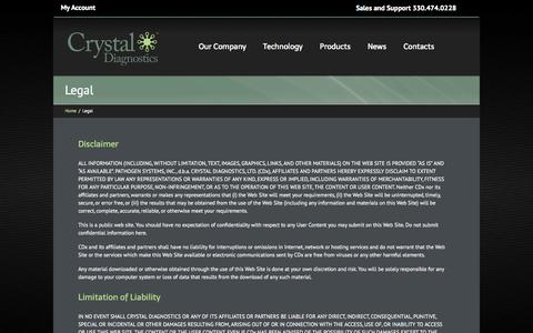 Screenshot of Terms Page crystaldiagnostics.com - Legal - Crystal Diagnostics - captured Sept. 17, 2014