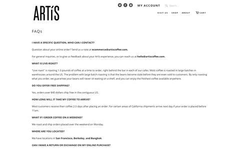 Screenshot of FAQ Page artiscoffee.com - FAQs   Artís Coffee - captured Oct. 8, 2017