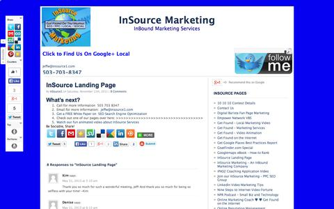 Screenshot of Home Page insource1.com - InBound Marketing Services - captured Oct. 6, 2014