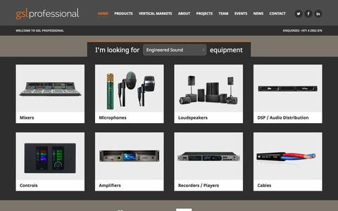 Screenshot of Home Page gslprofessional.com - GSL Professional | Pro Audio UAE | Harman | Klotz | Tascam - captured Dec. 6, 2015