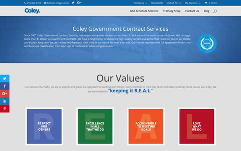 Screenshot of Testimonials Page coleygsa.com - How Coley Government Contract Services Help Contractors - captured July 10, 2016
