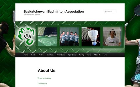 Screenshot of About Page saskbadminton.ca - About Us | Saskatchewan Badminton Association - captured April 7, 2017