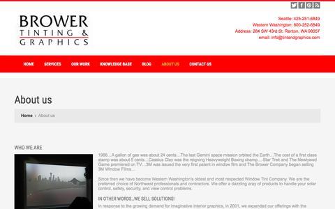 Screenshot of About Page tintandgraphics.com - Brower Tinting & Graphics | Quality Custom Graphics - WA - captured Oct. 11, 2017