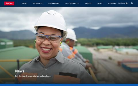 Screenshot of Press Page riotinto.com - News - captured Jan. 9, 2020