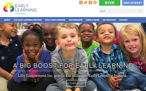 Screenshot of Home Page earlylearningin.org - Home - Early Learning Indiana - captured Jan. 24, 2015