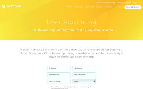 Screenshot of Pricing Page quickmobile.com - Discover Event App Pricing that Fits Your Needs | QuickMobile - captured April 24, 2018