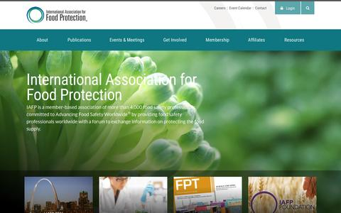Screenshot of Home Page foodprotection.org - International Association for Food Protection - captured Jan. 28, 2016