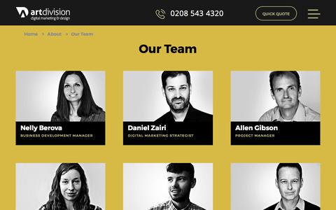 Screenshot of Team Page artdivision.co.uk - Art Division - Our Team - captured July 30, 2018