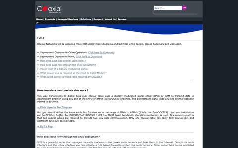 Screenshot of FAQ Page coaxialnetworks.com - Faq - captured Oct. 3, 2014