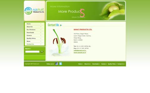 Screenshot of Contact Page sanat.co.in - Sanat Products : Contact Details - captured Oct. 3, 2014