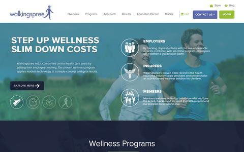 Screenshot of Home Page walkingspree.com - Employee Wellness Programs - Pedometers Walking Programs - Walkingspree - captured Oct. 2, 2015