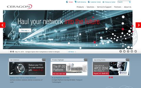 Screenshot of Home Page ceragon.com - Microwave Radio Communication, Microwave Technology Solutions, Microwave System Specialists, Microwave Networks Transmission | Ceragon - captured July 17, 2014
