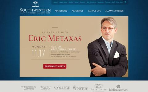 Screenshot of Home Page swbts.edu - Welcome to Southwestern Baptist Theological Seminary - Fort Worth, Texas - Southwestern Baptist Theological Seminary - captured Sept. 25, 2014