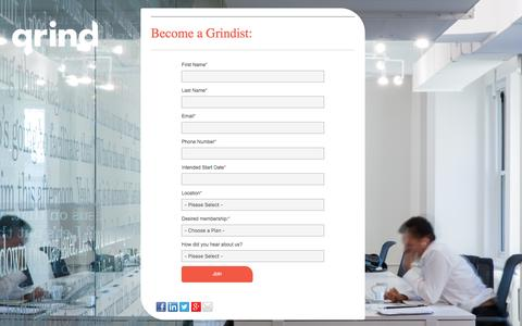 Screenshot of Signup Page grindspaces.com - Join Us | Grind Coworking for Community - captured July 19, 2016