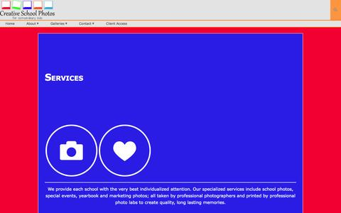 Screenshot of Services Page creativeschoolphotos.com - Creative School Photos | Services - captured Sept. 30, 2014