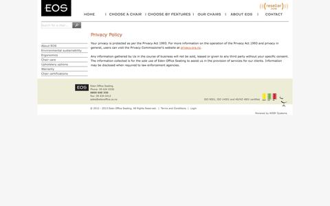 Screenshot of Privacy Page edenoffice.co.nz - Privacy Policy | Eden Office Seating - captured Oct. 2, 2014