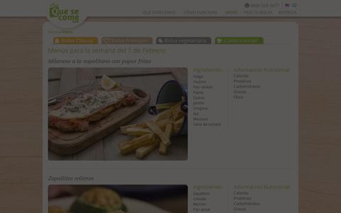 Screenshot of Menu Page quesecome.com - Menú | Que se come - captured Jan. 26, 2016