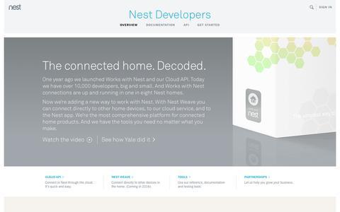 Screenshot of Developers Page nest.com - Home | Nest Developers - captured Nov. 11, 2015