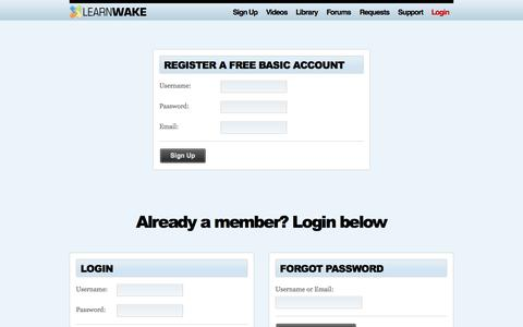 Screenshot of Signup Page Pricing Page learnwake.com - Signup - LearnWake - captured Oct. 22, 2014