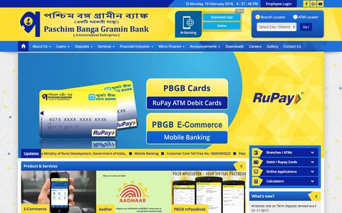 Screenshot of Home Page pbgbank.com - Paschim Banga Gramin Bank // A Government of India Enterprise // West Bengal, Indiaa - captured Feb. 20, 2018