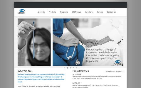 Screenshot of Home Page arenapharm.com - Arena Pharmaceuticals - captured July 11, 2014