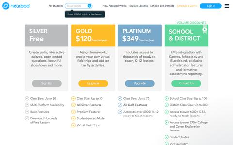 Screenshot of Pricing Page nearpod.com - Michael says… - captured June 10, 2018