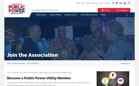 Screenshot of Signup Page publicpower.org - Join the Association | American Public Power Association - captured Sept. 30, 2018