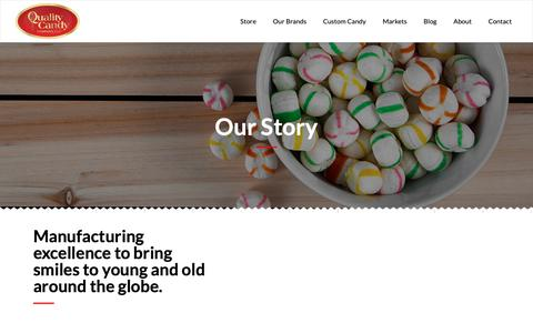 Screenshot of About Page qcandy.com - Our Story - Quality Candy - captured Sept. 28, 2018