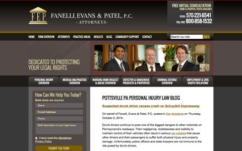 Screenshot of Blog feplawyers.com - Pottsville PA Personal Injury Attorneys Blog   Pennsylvania Car Accidents Lawyers   Schuylkill County Drunk Driving Accidents Law Firm - captured Oct. 5, 2014