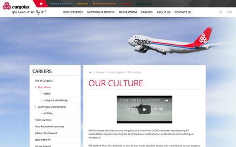 Screenshot of Jobs Page cargolux.com - Our culture          - Cargolux - captured Sept. 27, 2018
