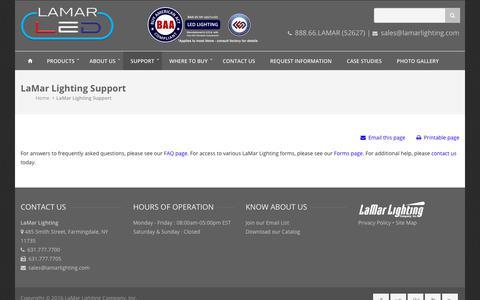 Screenshot of Support Page lamarlighting.com - Support - Farmingdale, New York - captured Sept. 25, 2018