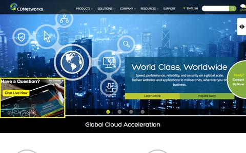 Screenshot of Home Page cdnetworks.com - CDN | Global Content Delivery Network | CDNetworks - captured July 3, 2015