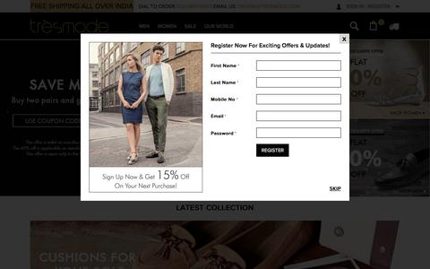 Screenshot of Home Page tresmode.com - Buy shoes for men and women online from Tresmode - captured Dec. 2, 2016