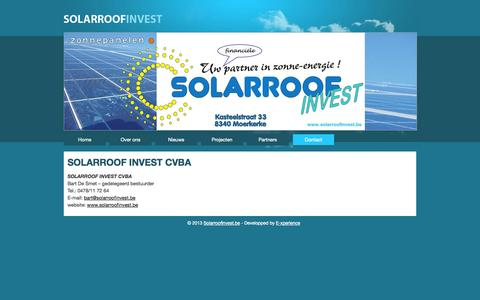 Screenshot of Contact Page solarroofinvest.be - Solarroofinvest.be: Contact - captured Oct. 1, 2014
