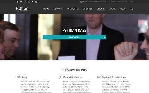 Screenshot of Case Studies Page pythian.com - Retail ─ Financial Services ─ Media & Entertainment - clients - captured Sept. 17, 2014